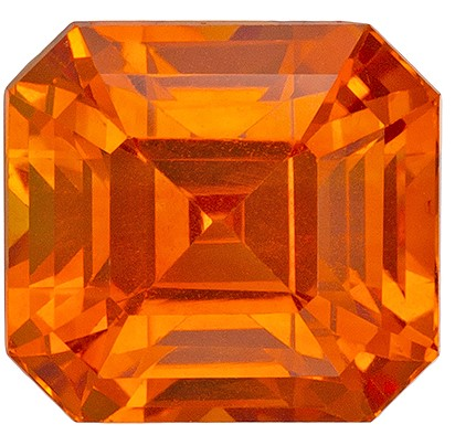 Beautiful GIA Certed Orange Sapphire Gemstone, 2.02 carats, Emerald Shape, 6.52 x 6.06 x 5.13 mm, A Wonderful Find