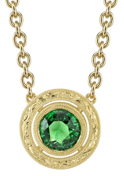 Beautiful Ornate 18kt Yellow Gold Handmade Bezel Set 6.5mm Tsavorite Garnet Necklace
