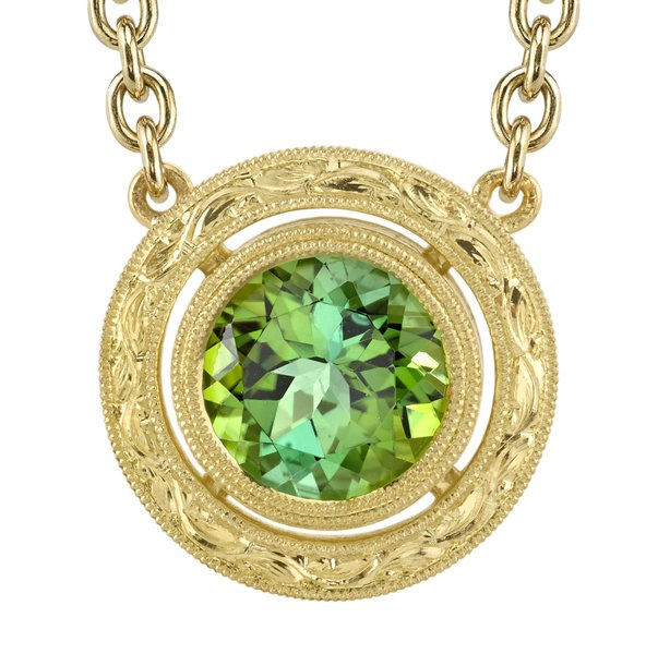 Beautiful Ornate 18kt Yellow Gold Handmade Bezel Set 9mm Green Tourmaline Necklace