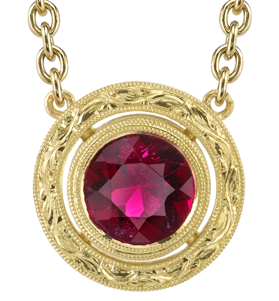 Beautiful Ornate 18kt Yellow Gold Handmade Bezel Set 9mm Pink Tourmaline Necklace