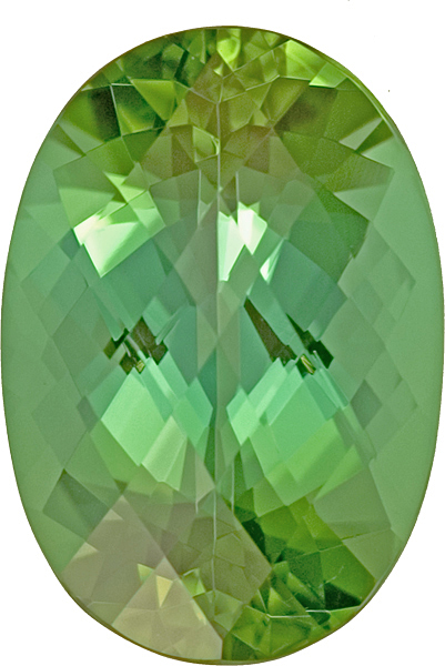 Beautiful Oval Shape Bright Green Tourmaline - Unique Rose Cut Faceting, 15.9 x 11.2mm, 9.34 carats