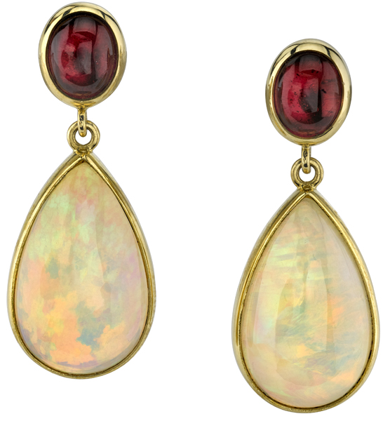Beautiful Pear Opal (17.05ctw) & Oval Cabochon Pink Tourmaline Post Back Dangle Earrings in 18kt Yellow Gold