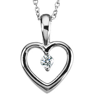 Beautiful  Platinum Heart Pendant With a .07 Ct Diamond Accent - FREE Chain