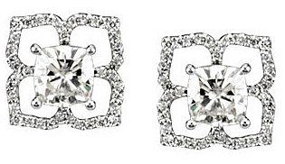 Beautiful Post Back 1.38ct 6mm Antique Square Created Moissanite Earrings With Diamond Studded Petal Frame - SOLD