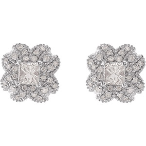 Beautiful Princess Cut Diamond Post Back Earrings With Leafy Diamond Detailing in 14k White Gold