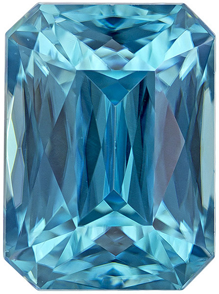 Beautiful Pure Blue Zircon Gemstone in Radiant Cut, Intense Rich Blue Color in 9.3 x 6.8 mm, 4.61 carats