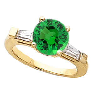 Beautiful Round 1 carat 6mm Tsavorite Garnet Gemstone Engagement Ring With Diamond Baguette Side Gems