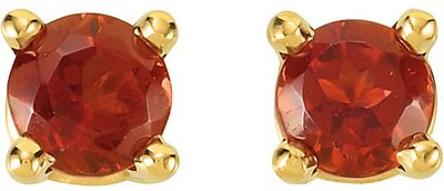 Beautiful Round .2ct 3mm AAA Grade Mozambique Garnet Gemstone Stud January Birthstone Earrings for SALE - 14k White or Yellow Gold