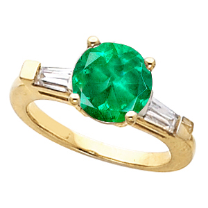 Fine Round Green 1 carat Genuine 6mm Emerald Gemstone Engagement Ring With Diamond Baguette Side Gems