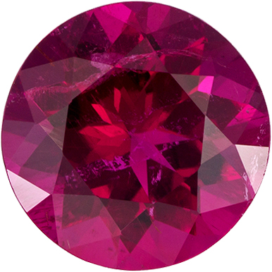 Beautiful Rubelite Tourmaline Loose Gem in Round Cut, No Treatment Vivid Rich Fuchsia, 6.8 mm, 1.11 carats