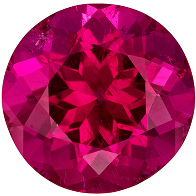 Beautiful Rubellite Tourmaline Gemstone in Round Cut, Rich Reddish Fuchsia, 8.8 mm, 2.64 carats