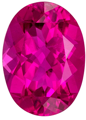 Beautiful Rubellite Tourmaline Genuine Gemstone in Oval Cut, 7.4 x 5.3 mm, Vivid Fuchsia Pink, 0.84 carats