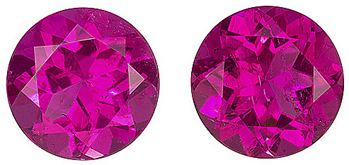 Beautiful Rubellite Tourmaline Pair 7.00mm Size - Rich Pink With a Touch of Fuchsia Color, Round Cut, 2.5 carats