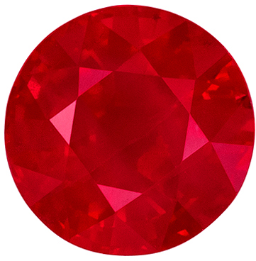 Beautiful Ruby Genuine Gem, Vivid Pure Red, Round Cut, 6 mm, 1.14 carats