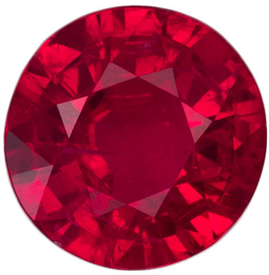 Beautiful Ruby Genuine Gemstone, Round Cut, Open Rich Red, 5 mm, 0.53 carats