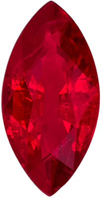 Beautiful Ruby Loose Gemstone, Rich Pure Red, Marquise Cut, 7.6 x 3.8 mm, 0.6 carats