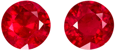 Beautiful Ruby Round Cut Well Matched Gemstone Pair, Vivid Pure Red, 5.2 mm, 1.27 carats