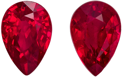 Beautiful Ruby Well Matched Gemstone Pair, Rich Pure Red, Pear Cut, 6.1 x 4.1 mm, 1.18 carats