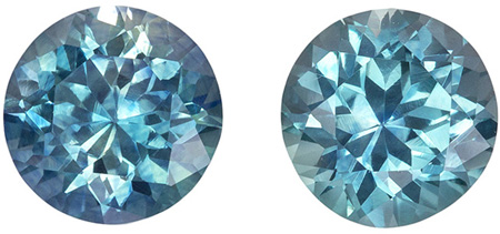 Stunning Colors in Blue Green Sapphires Pair, High Teal Blue Green Colors in Round Cut, 5.5 mm, 1.88 carats