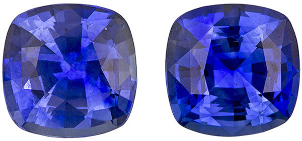 Beautiful Sapphire Well Matched Pair in Cushion Cut, Strong Blue, 4.90 mm, 1.28 carats