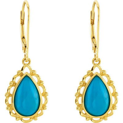 Beautiful Scalloped Edge Genuine Chinese 11x7mm Turquoise Lever Back Earrings in 14k Yellow Gold - SOLD