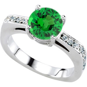 Beautiful Solitaire Engagement Ring With Genuine 1 carat 6mm Tsavorite Garnet Round Centergem - 18 Diamond Accents in Band