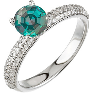 Beautiful Solitaire Vivid Color Change  0.50 ct 4.80 mm Alexandrite & Diamond Pave Engagement Ring in 14 kt White Gold