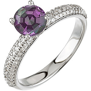 Fine Solitaire Vivid Color Change  0.50 ct 4.80 mm Alexandrite & Diamond Pave Engagement Ring in 14 kt White Gold