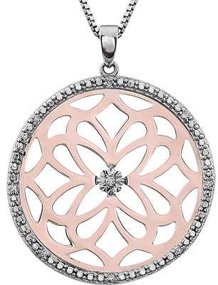 Beautiful Statement Medallion Pendant in Sterling Silver & Rose Plating - Diamond Accents - SOLD