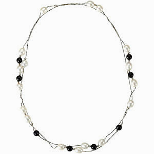 Beautiful Station Necklace  With Cultured Pearl and Black Agate