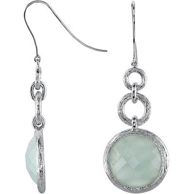 Beautiful Sterling Silver Wire Back Dangle Earrings With Bezel Set Milky Aquamarine - 23ct 18 mm Round Checkerboard Cut