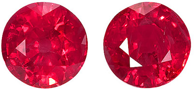 Beautiful Striking Pair of  Red Ruby Genuine Matched Gems, Round Cut, 2.20 carats