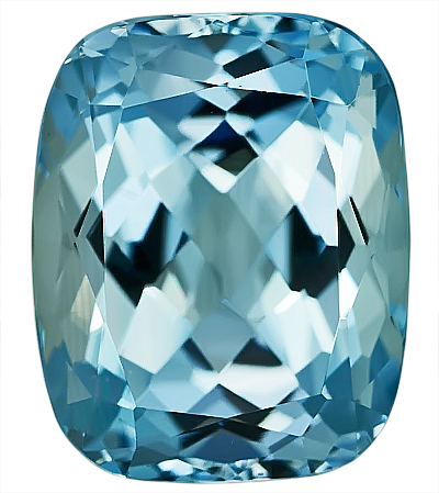 Beautiful Super Color Unheated Aquamarine Natural Gemstone, Cushion Cut, 10.52 carats,