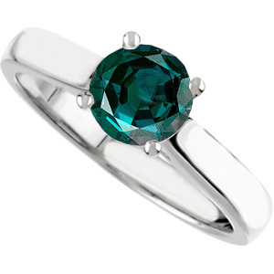 Beautiful Timeless 4-Prong 4.80 mm Round Solitaire Genuine 0.55 ct Alexandrite Engagement Ring with Diamond Accents