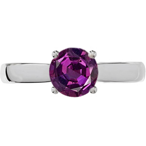 Fine Timeless 4-Prong 4.80 mm Round Solitaire Genuine 0.55 ct Alexandrite Engagement Ring with Diamond Accents