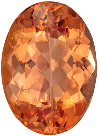 Beautiful Sherry Peach Imperial Topaz Ring Stone in Vivid Sherry Peach Color in Popular Oval Cut, 10.4 x 7.4 mm, 2.68 carats