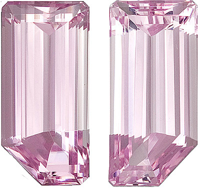 Beautiful Very Impressive Size and Unusual Shape in Pink Kunzites. Great Pair! Fancy cut, 53 carats