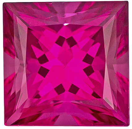 Beautiful Vivid Rich Pink Colored Tourmaline Loose Gem in Princess Cut, 7.4 mm, 2.14 carats