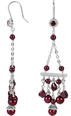 Beautifully Colorful  Freshwater Cultured Pearl & Rhodolite Garnet Chandelier Earrings in Sterling Silver for SALE - SOLD