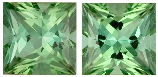 Beautifully Matched Princess Cut Untreated Green Tourmaline Pair in a Calibrated Size, 7.0mm, 3.46 carats