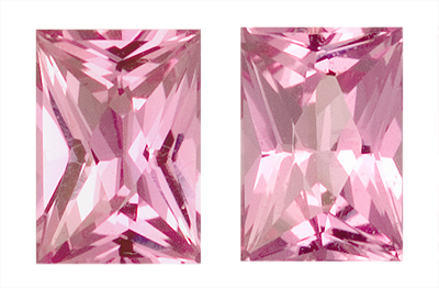 Beautifully Paired, Radiant Cut Gorgeous Pink Sapphire Gemstones for SALE, Rectangle Cut, 1.94 carats