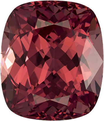 Berry Peachy Red Garnet Genuine Tanzanian Gem in Cushion Cut, 10.8 x 9.2 mm, 6.45 Carats