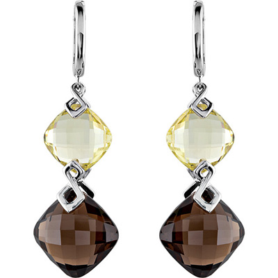 Best Lever Back49.68ct  Double Quartz Dangle Earrings in Sterling Silver With 12mm Lime & 15mm Smokey Quartz Gems