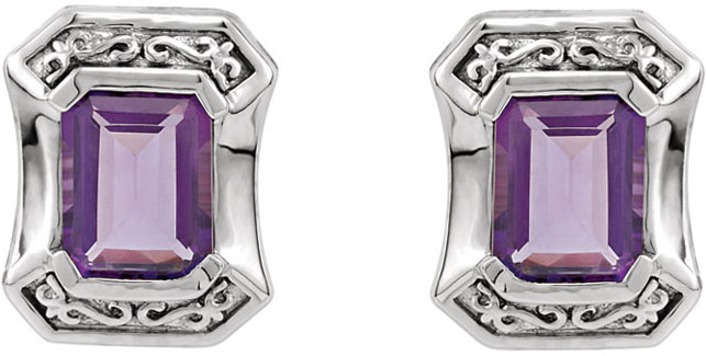 Bezel Earring Mounting With Scroll Detailing for Emerald Gemstone Size 8 x 6mm