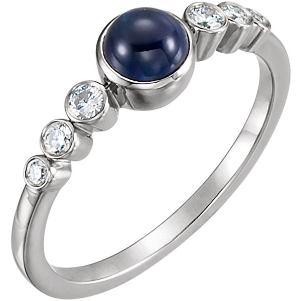 Bezel Set Blue Sapphire & Diamond Ring in 14kt Gold - 5mm Round Cab Blue Sapphire