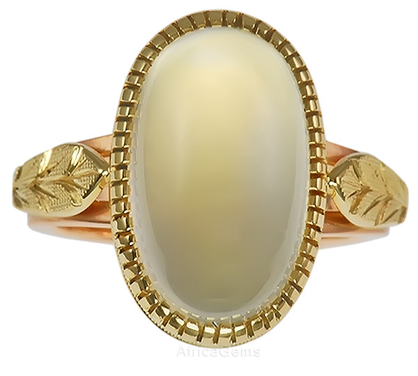 Bezel set Crystal Gem Moonstone Custom Gold Ring with Amazing Gold Leaf Work - SOLD