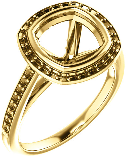 Bezel Set Halo Ring Mounting for Cushion Shape Centergem Sized 5.00 mm to 10.00 mm - Customize Metal, Accents or Gem Type