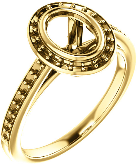 Bezel Set Halo Ring Mounting for Oval Shape Centergem Sized 7.00 x 5.00 mm to 12.00 x 10.00 mm - Customize Metal, Accents or Gem Type