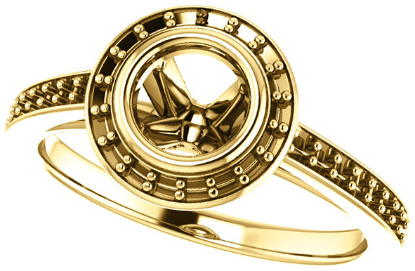 Bezel Set Halo Ring Mounting for Round Shape Centergem Sized 5.20 mm mm to 12.00 mm - Customize Metal, Accents or Gem Type