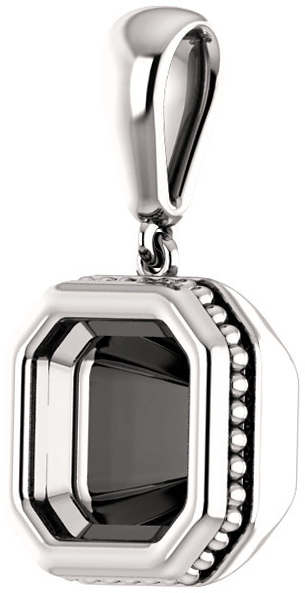 Bezel Set Soiltaire Pendant Mounting for Asscher Centergem Sized 5.00 mm to 10.00 mm - Customize Metal, Accents or Gem Type